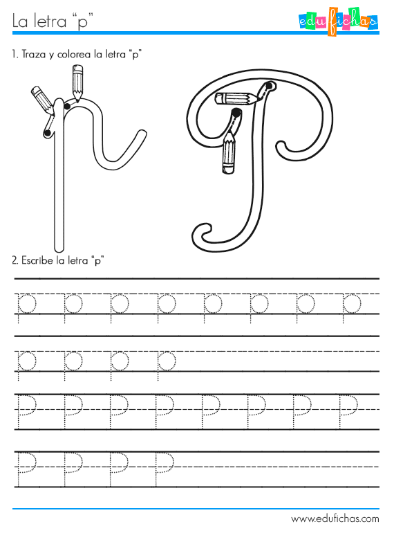 ficha aprender letra p