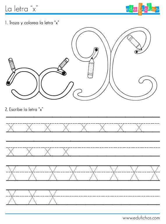 Ficha para aprender la letra X. Recursos y fichas educativas