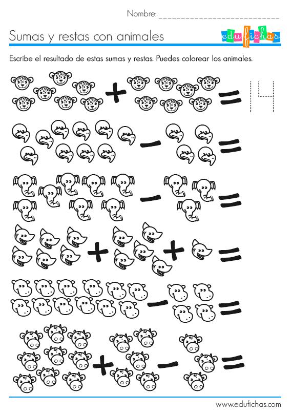 Sumas Y Restas Con Dibujos Para Ninos De Preescolar