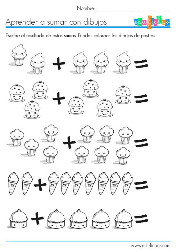 aprender a sumar con dibujos