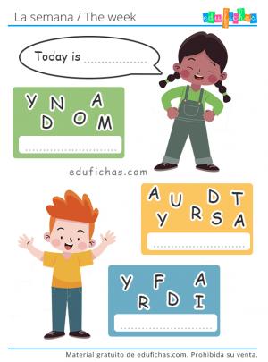 ejercicio días de la semana en inglés