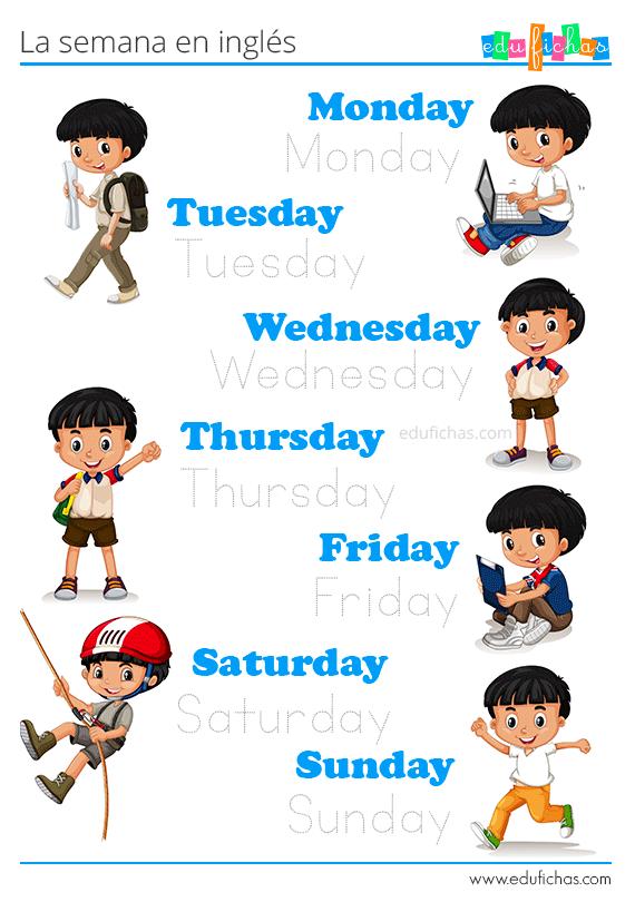 Días De La Semana En Inglés Fichas De Inglés Para Niños