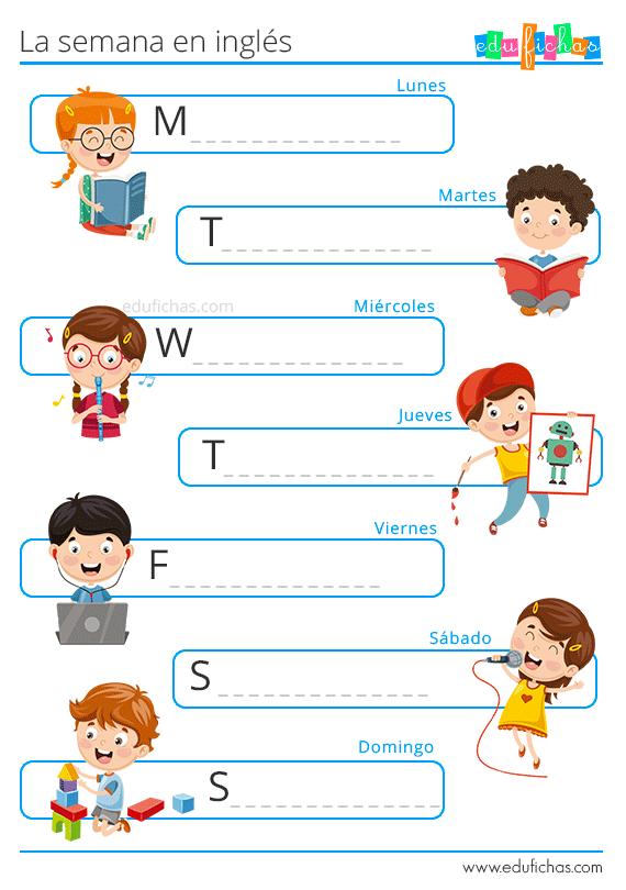 escribir los días de la semana en inglés