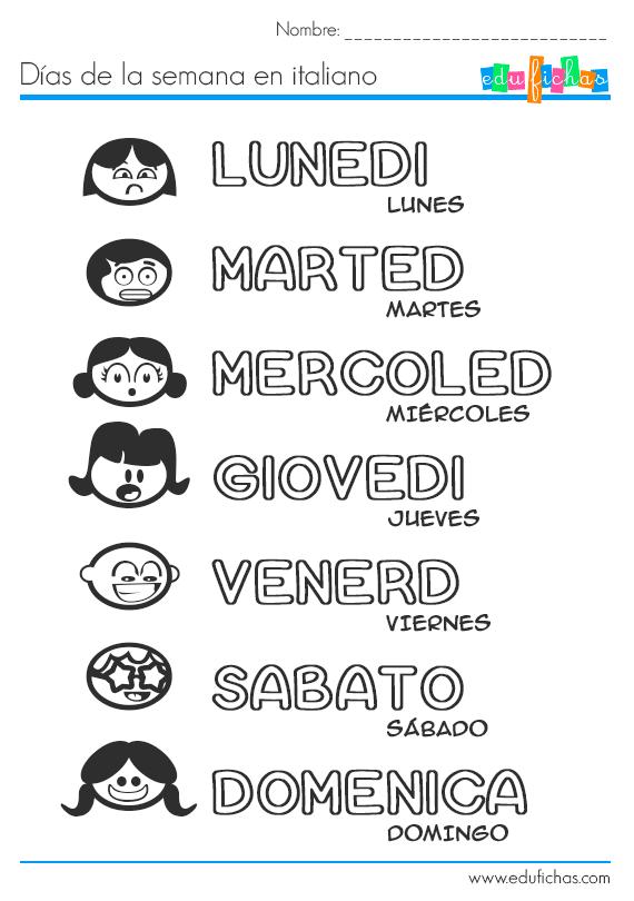 días de la semana en italiano