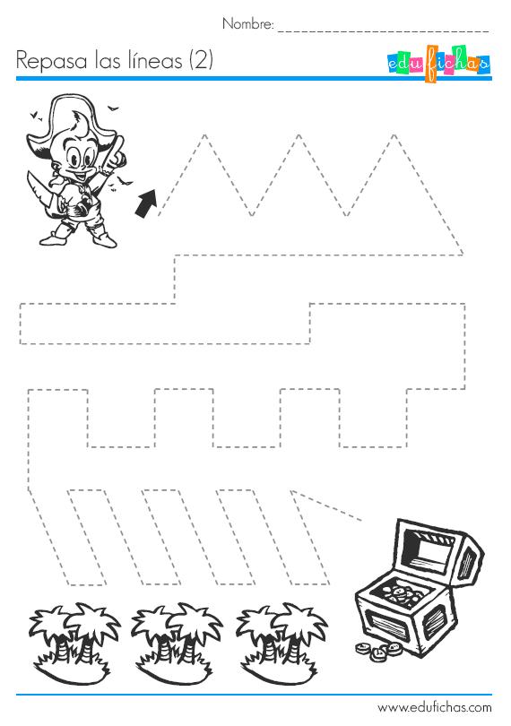 Ficha de grafomotricidad con piratas. Actividades educativas