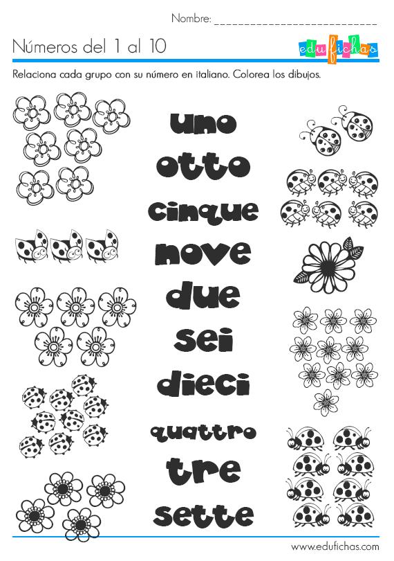 Aprende los números en italiano. Ficha infantil educativa