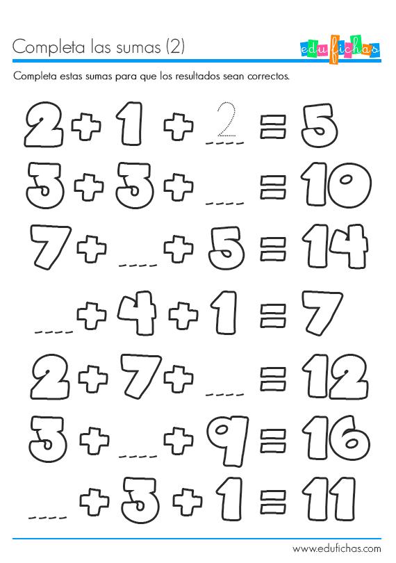 ficha educativa sumas con resultados de dos cifras