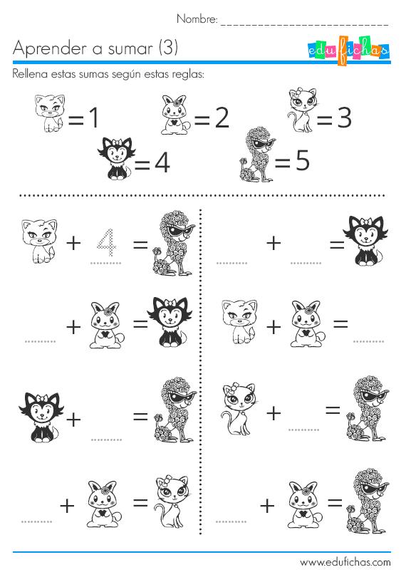 sumas para rellenar con dibujos