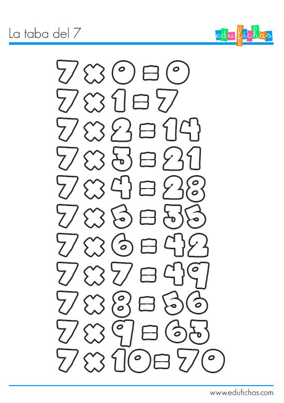 tabla del 7 colorear