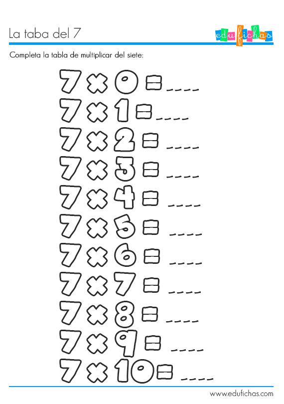tabla del 7 ejercicio