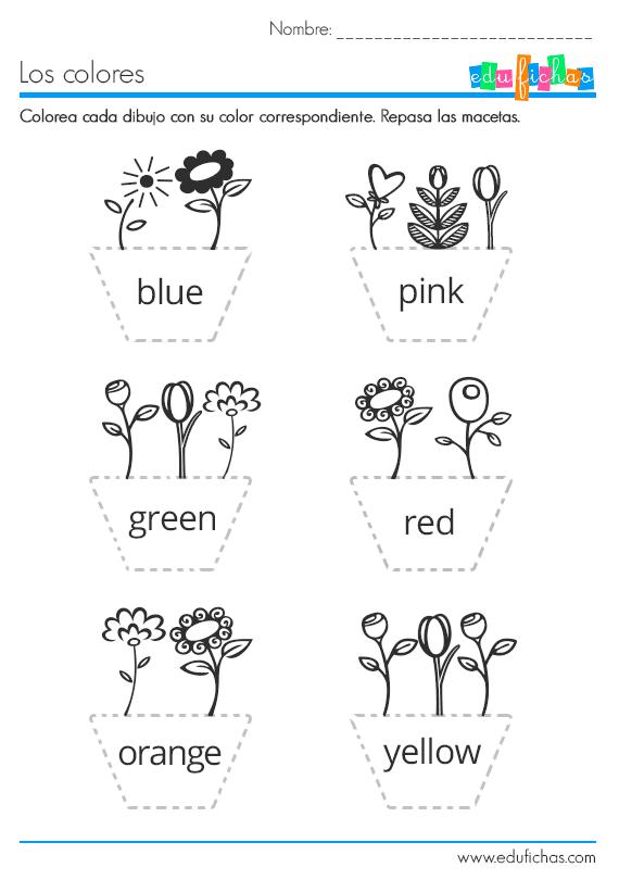 los colores en ingles ficha infantil