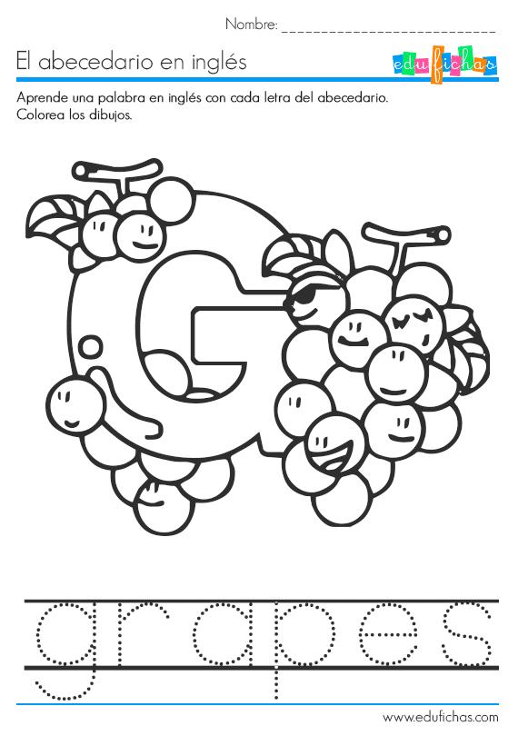 El abecedario en inglés. Fichas educativas infantiles gratis