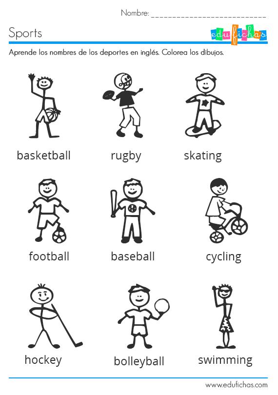 Ficha Infantil Para Aprender Los Deportes En Ingles