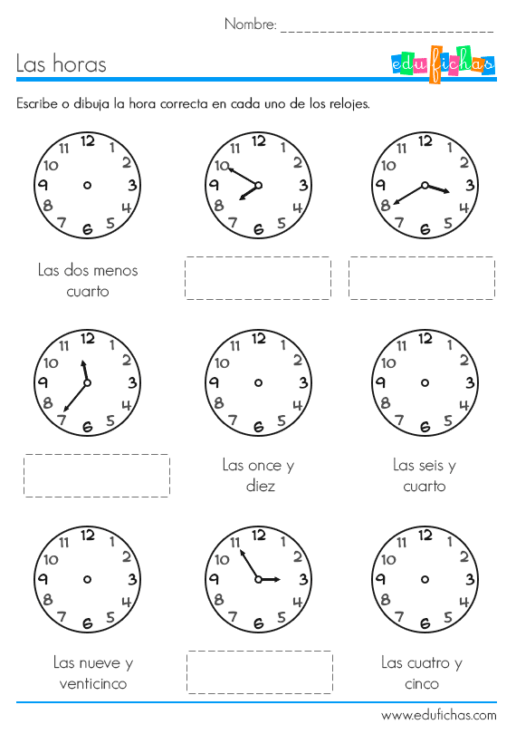 Ejercicio para aprender las horas. Fichas educativas para niños