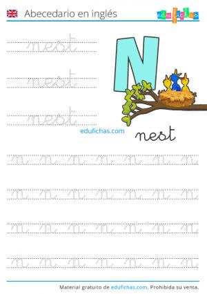 fichas en inglés de letras