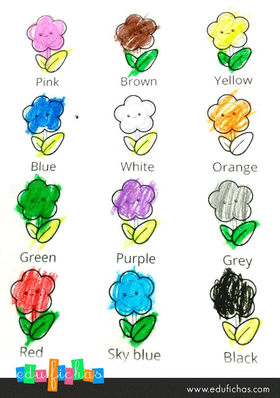 3 fichas para aprender los colores en ingles