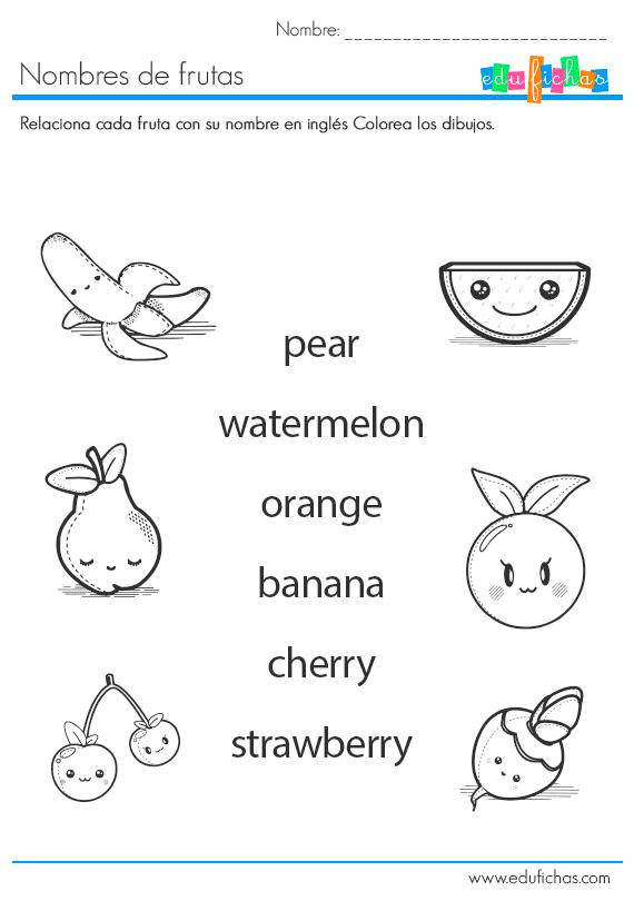 nombres de frutas en inglés