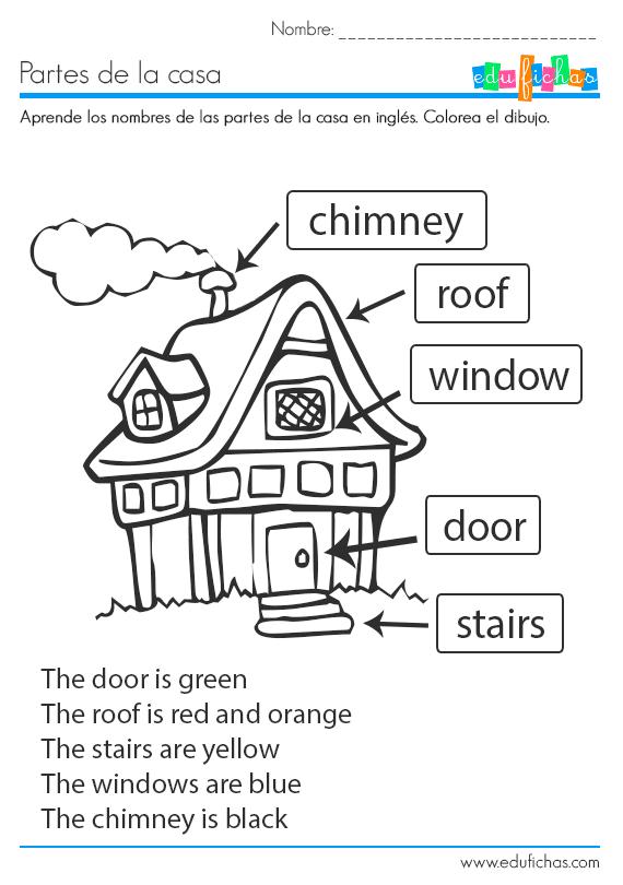 Las partes de la casa en ingl s ficha educativa infantil - Como estudiar ingles en casa ...