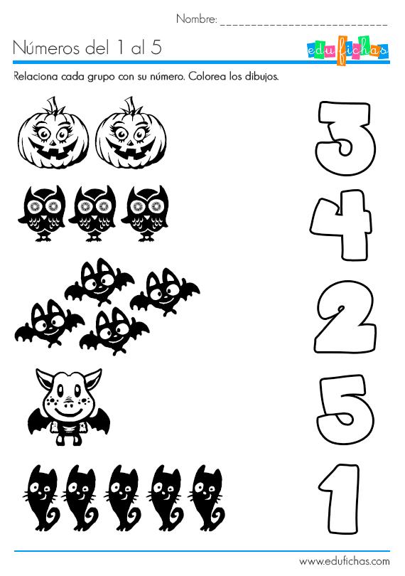ficha de halloween para aprender los números