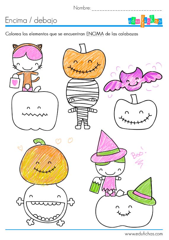 ficha educativa con dibujos de halloween para aprender encima