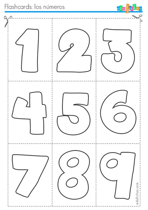 Flashcards para aprender los números. Fichas infantiles.
