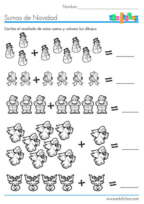 Sumas gráficas de Navidad. Fichas educativas navideñas.