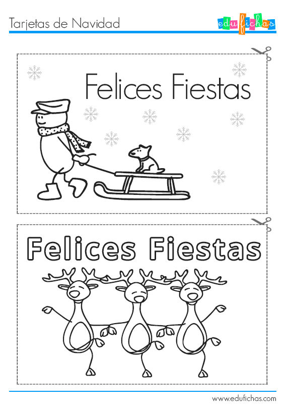Tarjetas de navidad para pintar. Fichas educativas gratis.