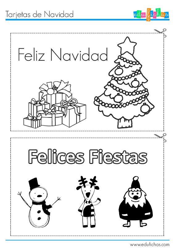 tarjetas para colorear de navidad