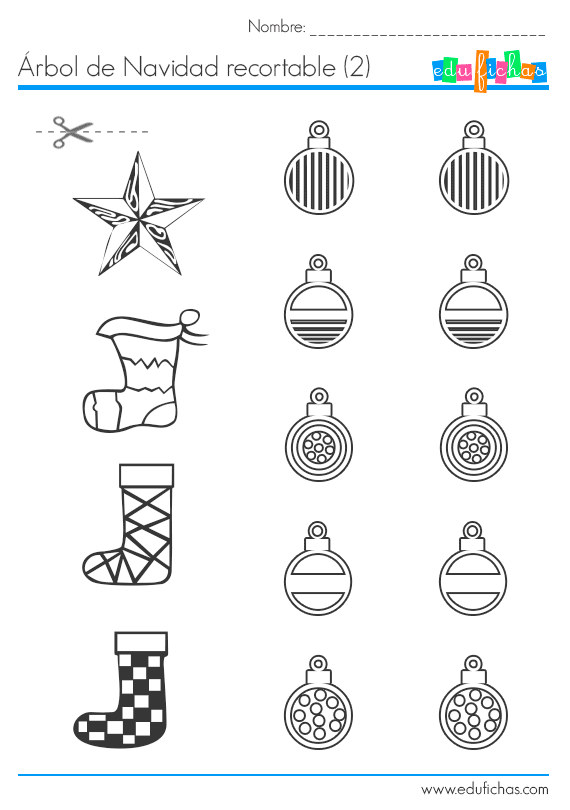 Árbol de Navidad recortable para collage. Manualidades