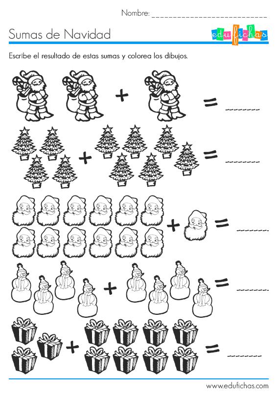 sumas con dibujos de navidad