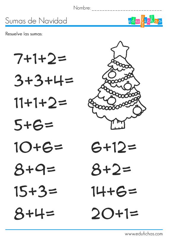 Sumas de Navidad con dibujo. Fichas para vacaciones