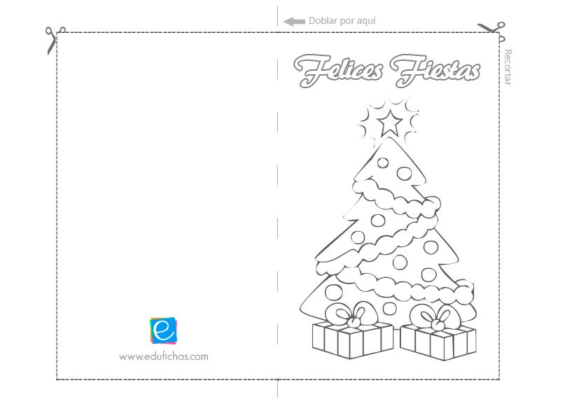 tarjeta para colorear de navidad