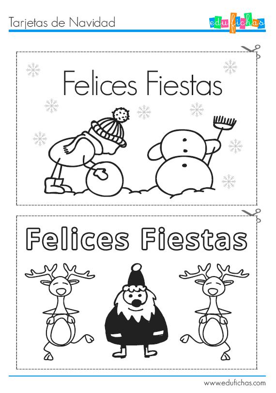 tarjetas coloreables de navidad