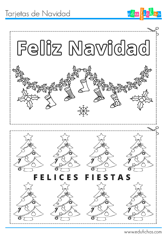 tarjetas de navidad coloreables