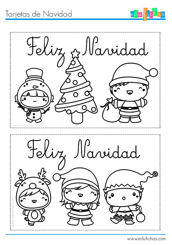 Tarjetas De Navidad Imprimir Postales De Navidad Para Niños