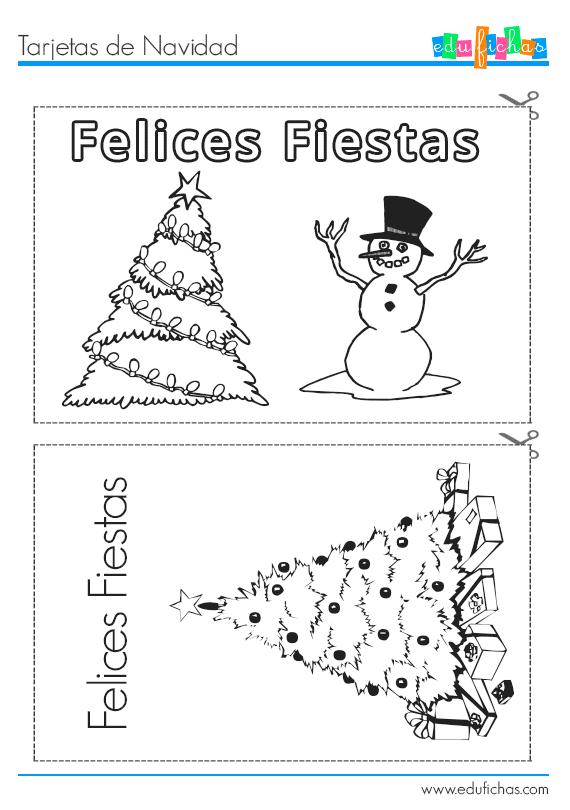 Recortable con dos tarjetas navideñas para imprimir