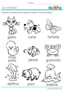 animales en italiano