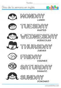 dias de la semana ingles