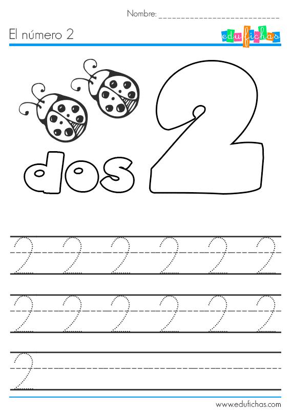aprender el número 2 dos