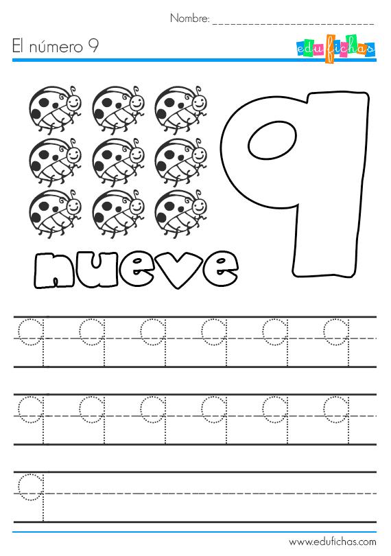 aprender el número 9 nueve