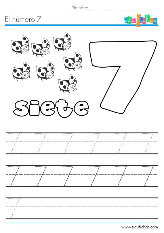 aprender el número 7 siete