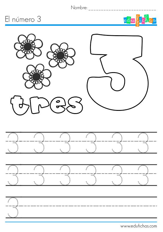 aprender el número 3 tres