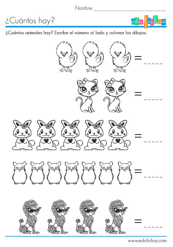 animalitos para colorear y contar