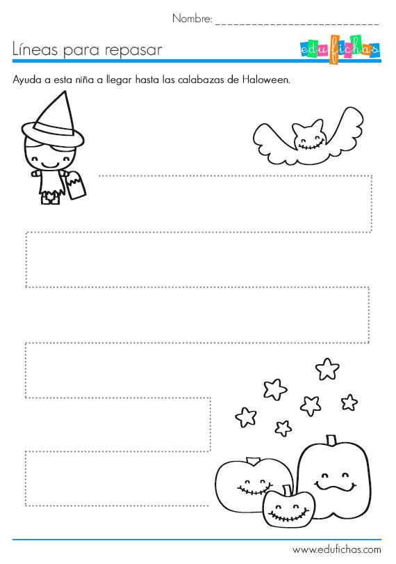 Trazos de halloween para 3 a os ficha para halloween for Aprender a cocinar desde cero pdf