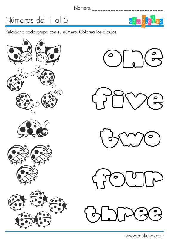 números del 1 al 5 en inglés