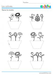 ficha grafomotricidad flores