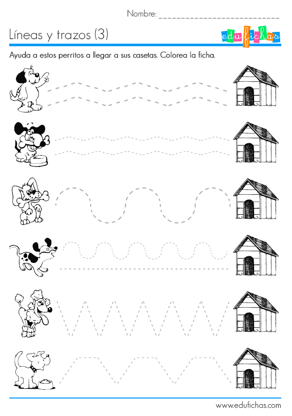 10 worksheets de grafomotricidad. Ficha educativa infantil