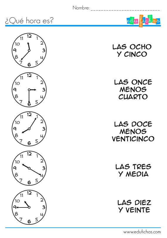 relacionar las horas