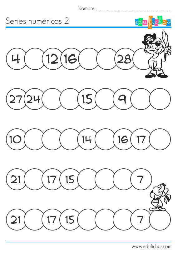 Rellenar series numéricas. Hojas de trabajo para niños