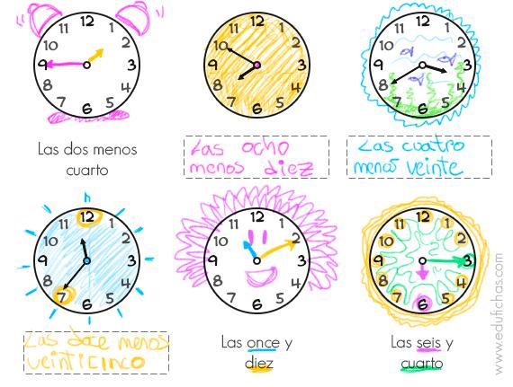 ejercicio para aprender las horas Archives - Cuadernos para niños